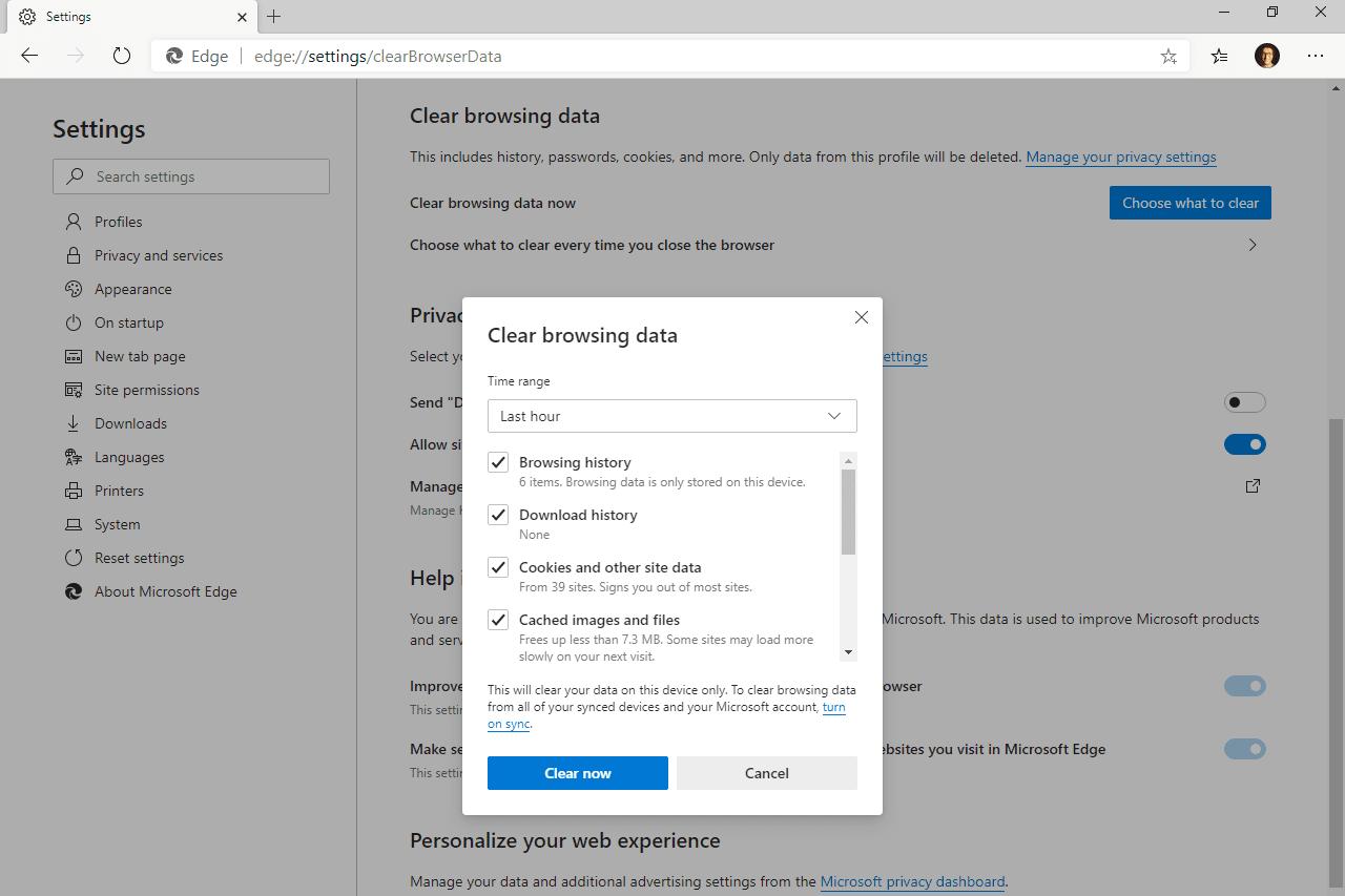 Microsoft Edge Clear browsing data screen