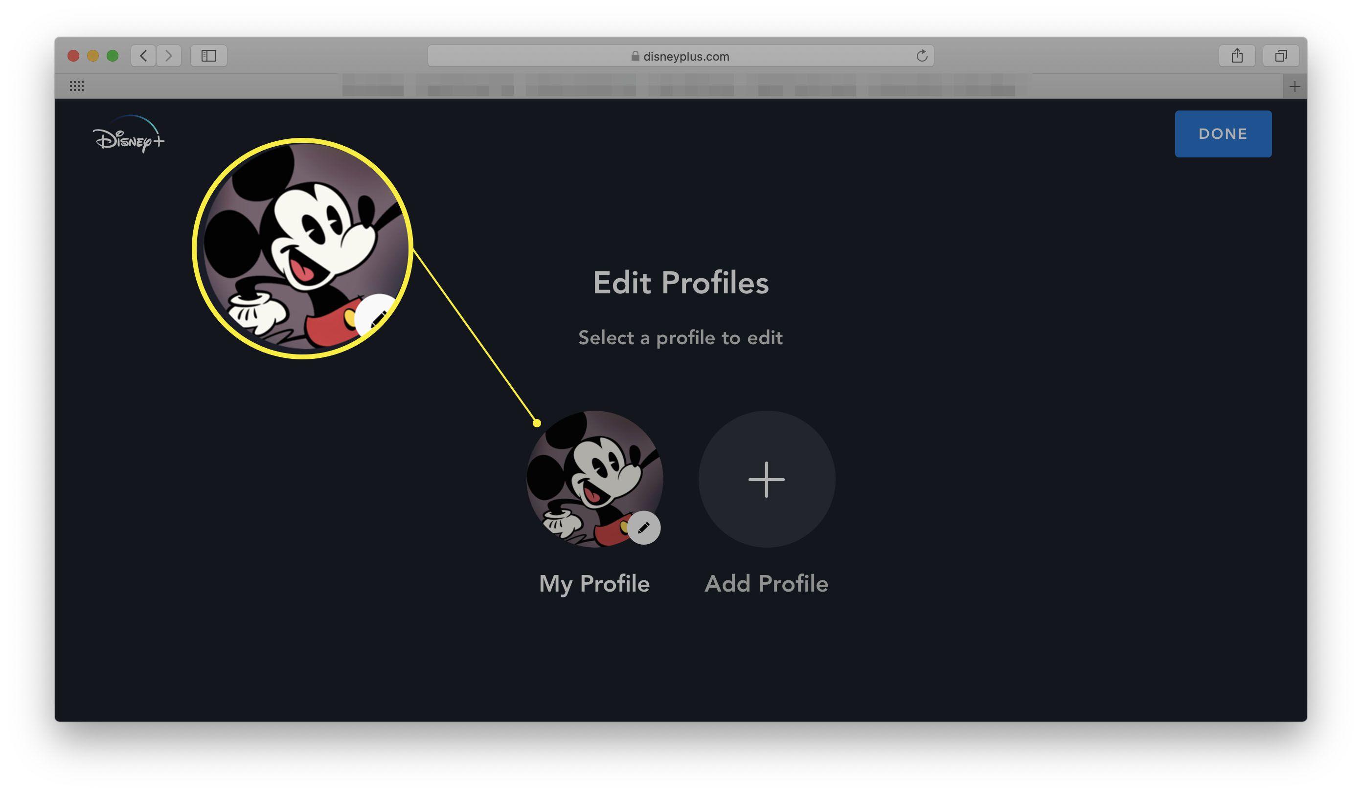 Disney+ website with Edit Profiles open
