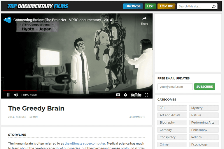 Screenshot of the free documentary The Greedy Brain on Top Documentary Films