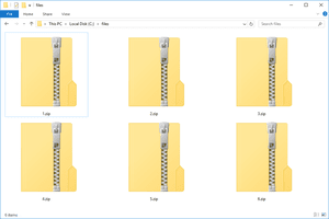 Screenshot of several ZIP files in Windows 10