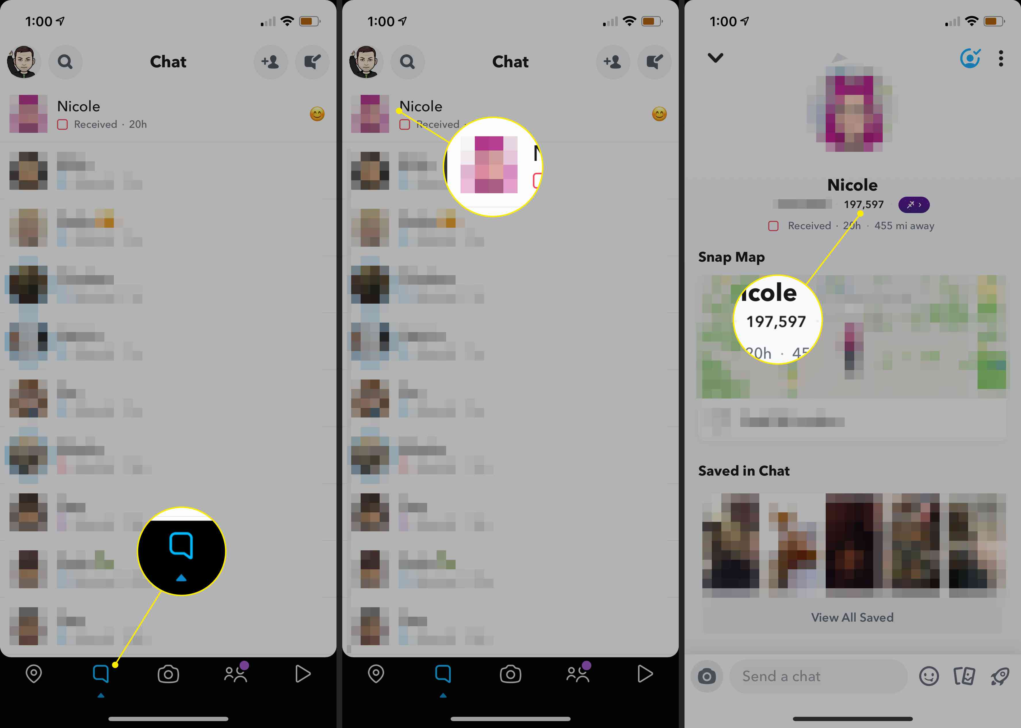 The Conversations tab, a user image, and their Snapchat score in the Snapchat app