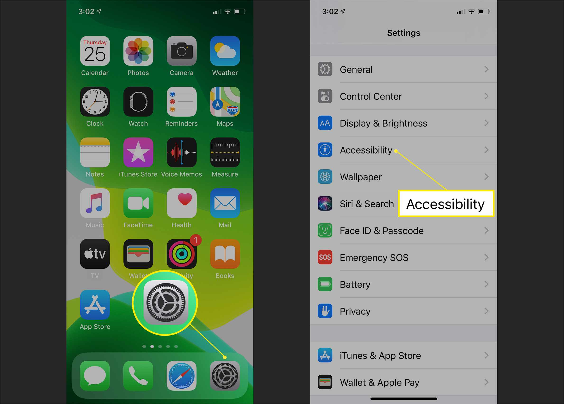iPhone Settings app and Accessibility option