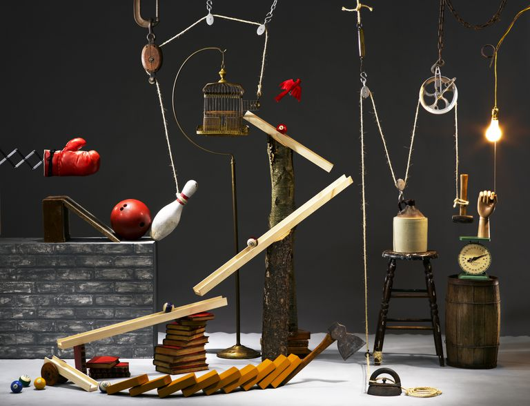 Rube Goldberg machine composed of various items