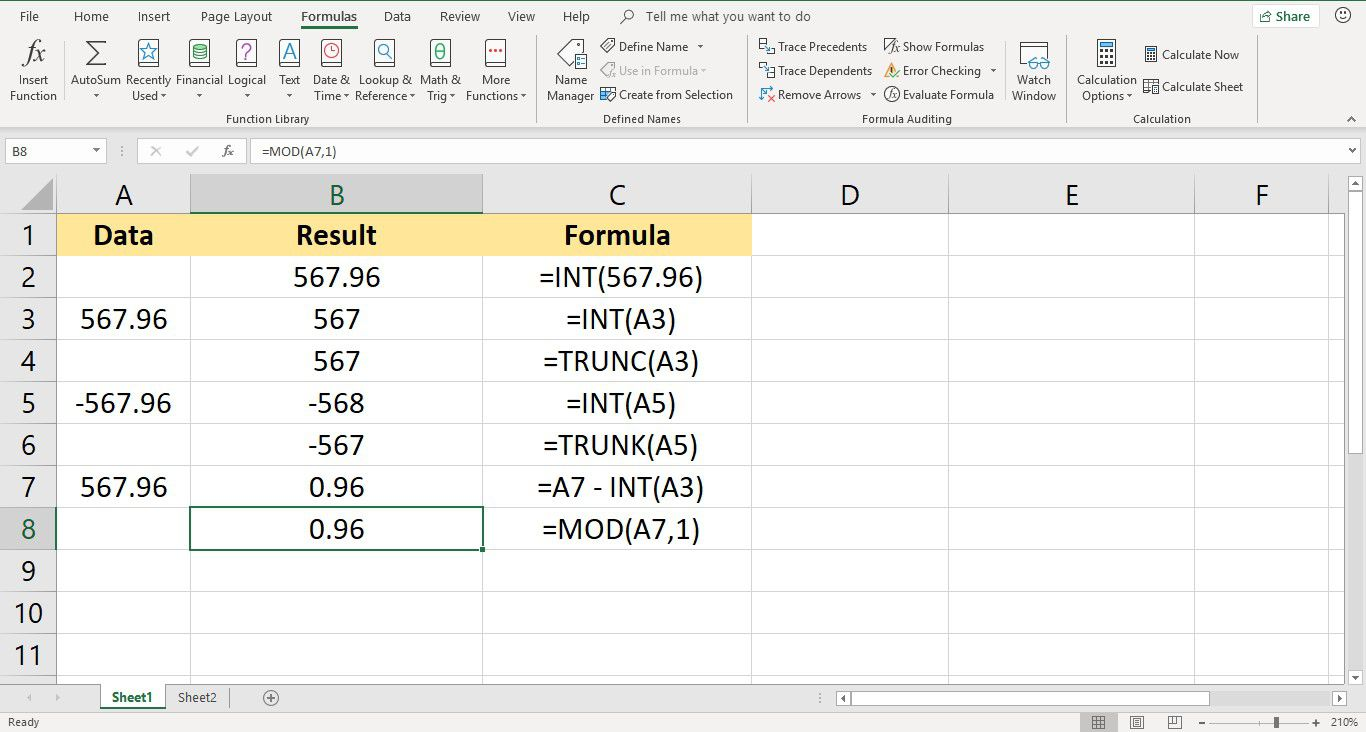 Screenshot of Excel showing MOD Function