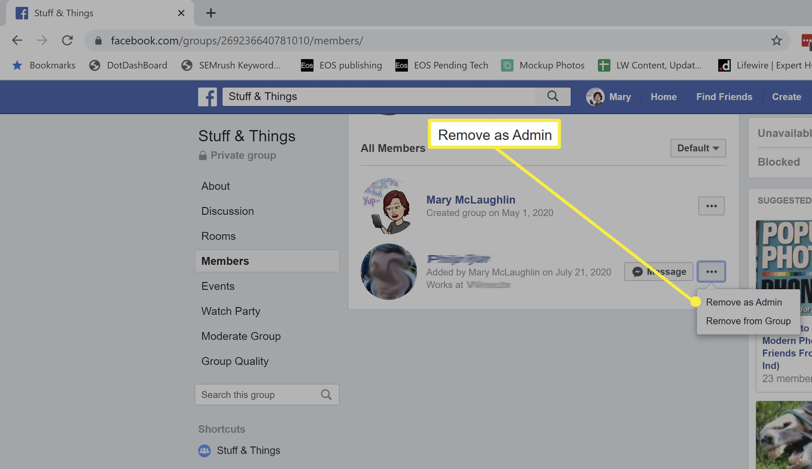 Removing someone as admin on a Facebook page.