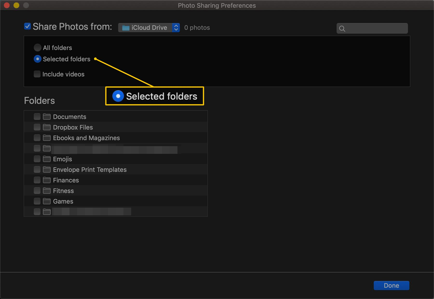 Selected folders radio button in iTunes settings