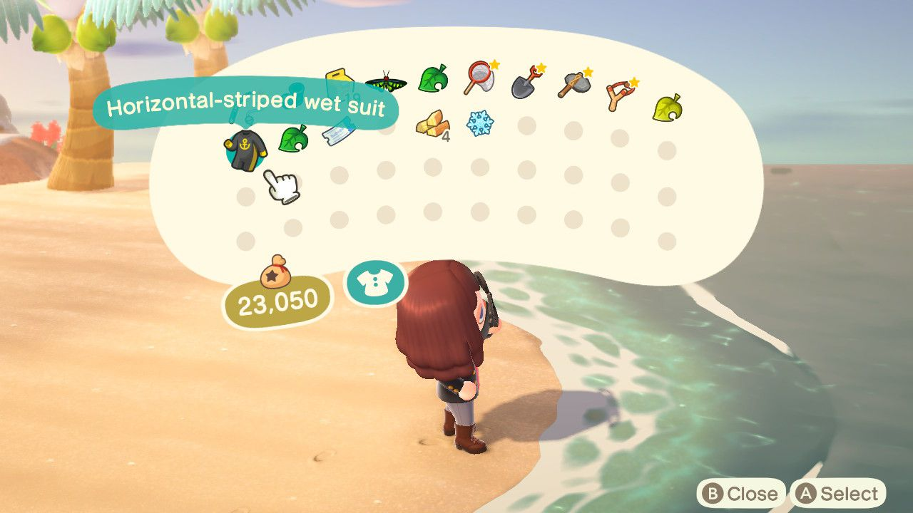 Inventory in Animal Crossing.