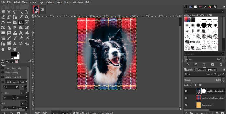 GIMP vignette cropped