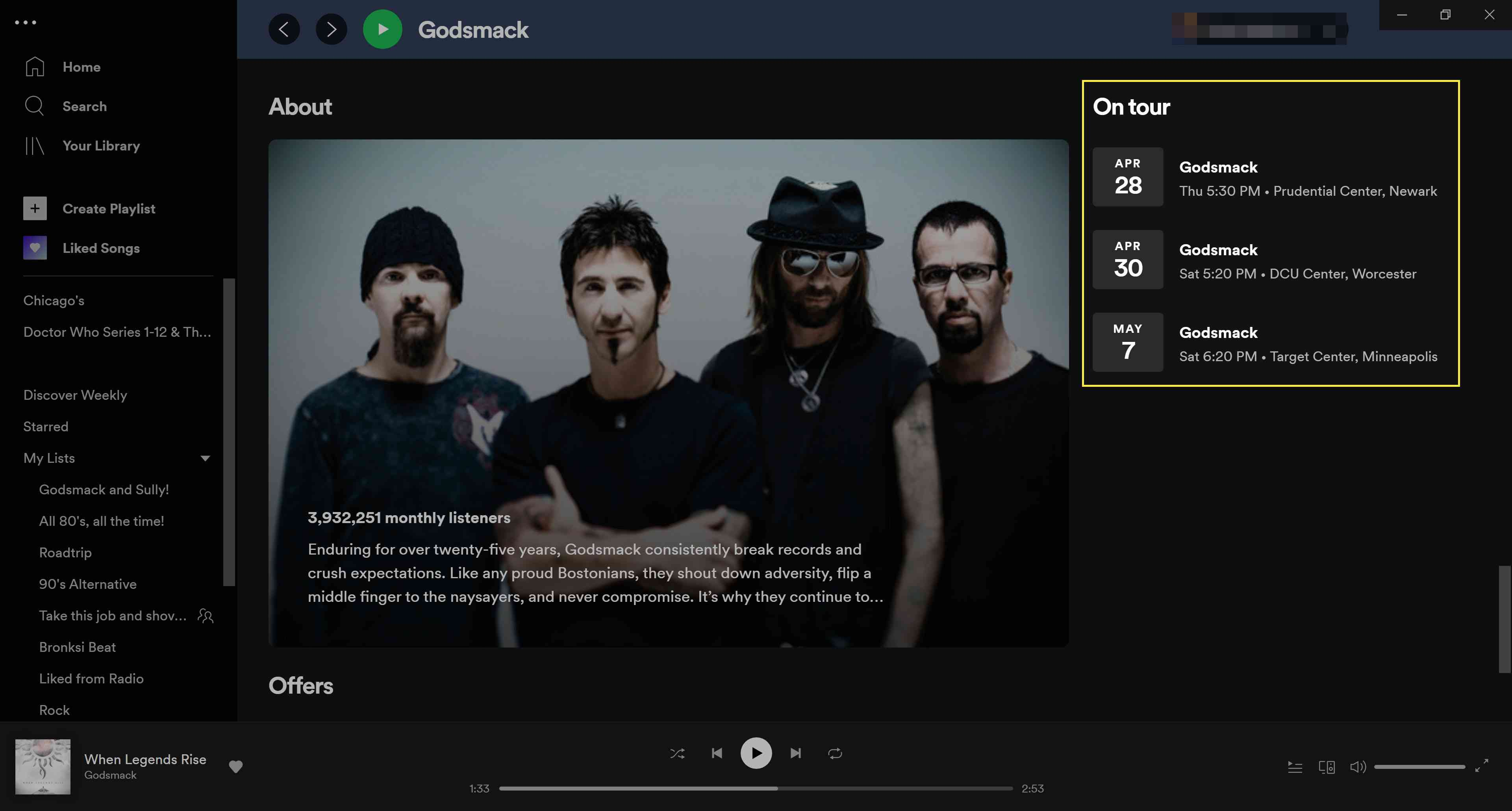 Spotify On tour highlighted under an artists' page.
