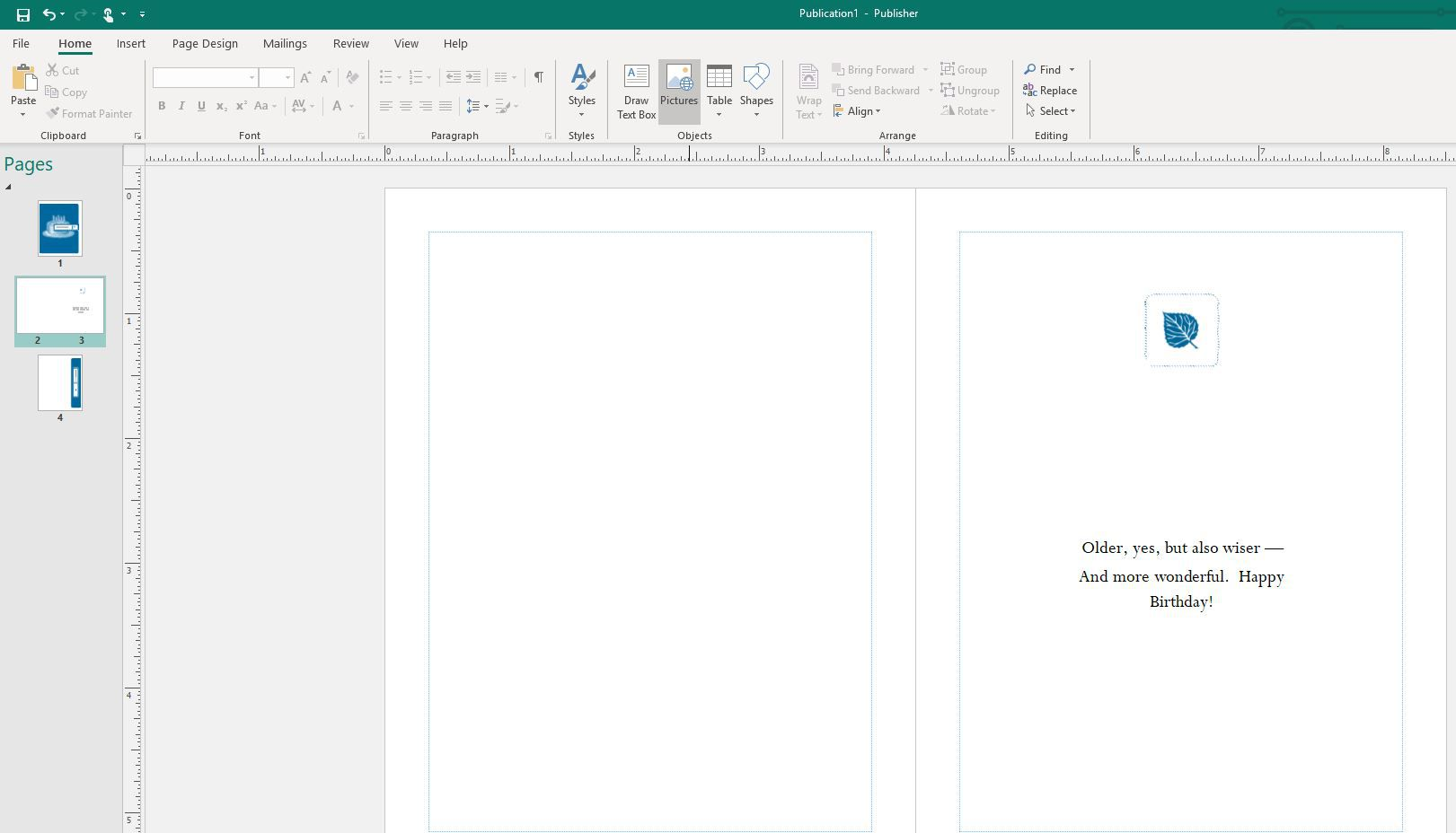 Pictures menu option in Publisher