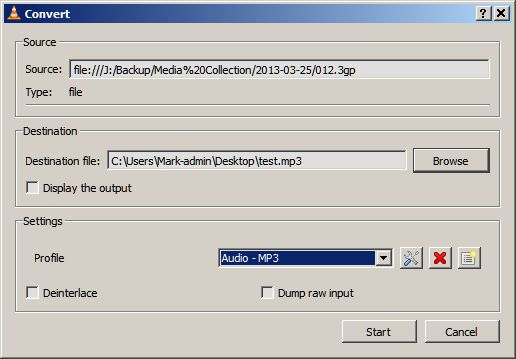 Converting Video to MP3 in VLC Media Player