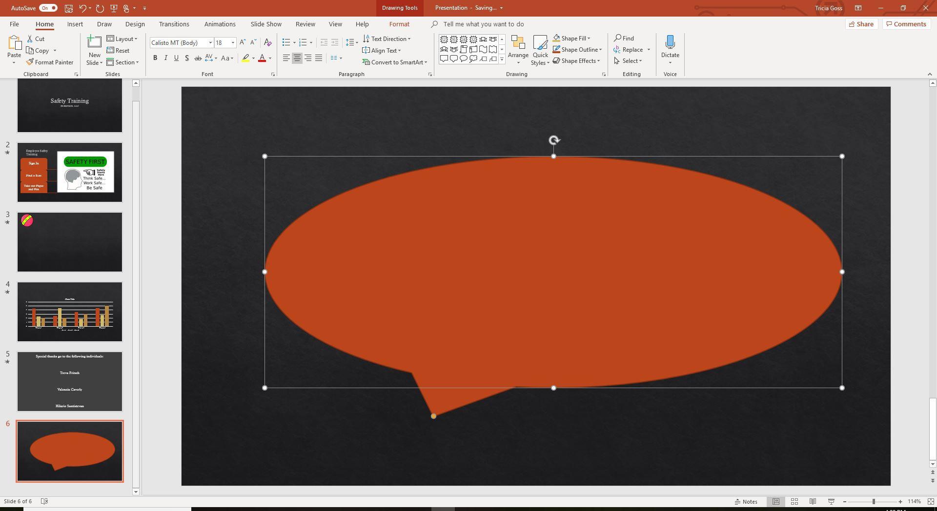 A screenshot of a callout on a PowerPoint slide.